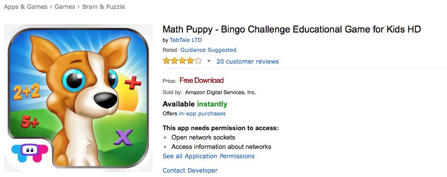 UCET Free Android App: Math Puppy - Bingo Challenge