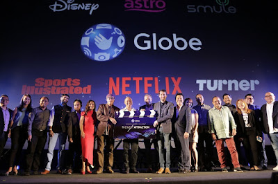Globe Executives with new content partners from Disney, Astro, Turner, Smule, Sports Illustrated and Netflix.
