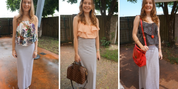 stripe maxi skirt and ruffle camis 3 outfit ideas with print mixing | awayfromtheblue