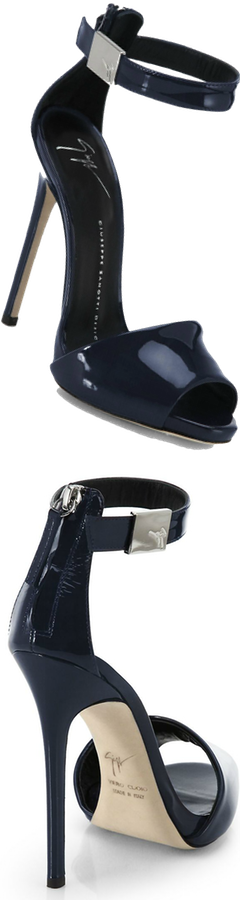 Giuseppe Zanotti Patent Leather Logo Ankle Strap Sandals