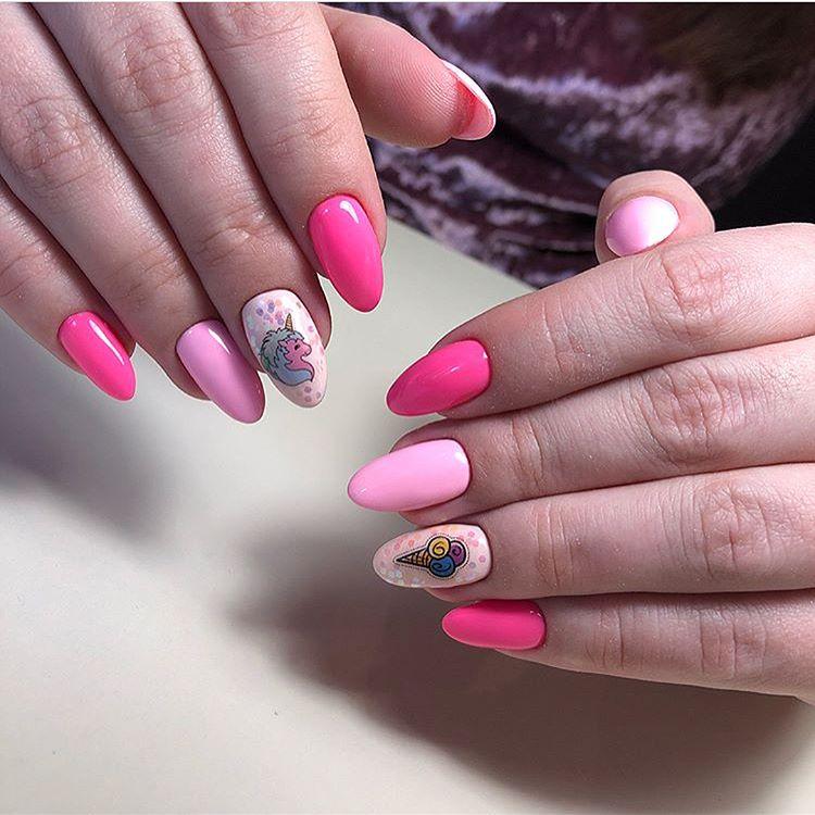 Pink Unicorn Nail Art