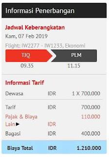 harga total dengan bagasi terdaftar 10 kg