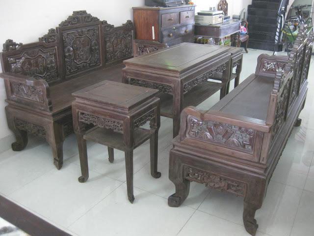 Bộ ghế trường kỷ cổ đẹp bằng gỗ gụ mật