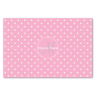 Gift Wrapping for Mother's Day - Carnation Pink And White Polka Dots, Custom Name Tissue Paper