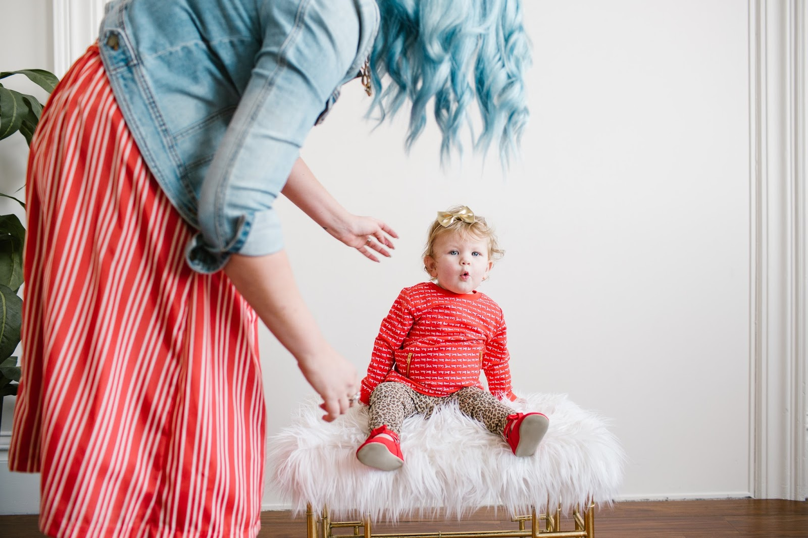 Red Striped Skirt, leopard Leggings, Cute baby