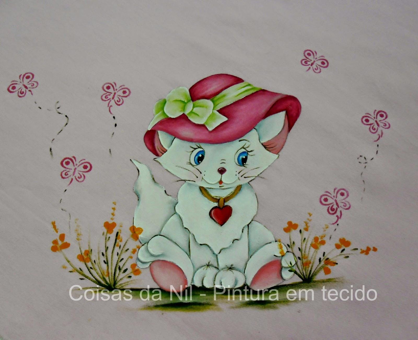 manta de flanela com pintura de gatinha com chapéu pink e laço verde