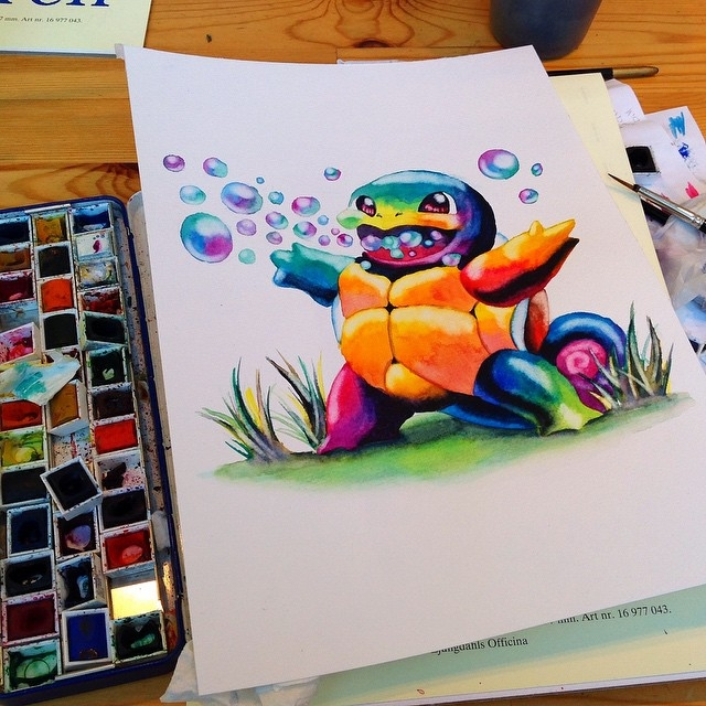 22-Squirtle-Pokemon-Lisa-Marie-Melin-LittleGeekyFanArt-Fan-Art-Comic-Manga-and-Video-Game-Paintings-www-designstack-co