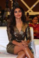 Pooja Hegde looks glamarous in deep neck sleevless short tight golden gown at Duvvada Jagannadham thank you meet function 157.JPG