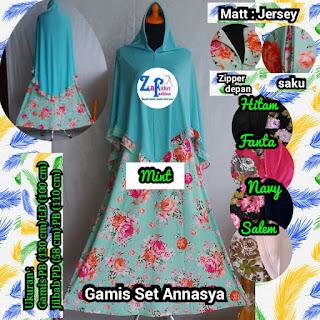gamis syar'i motif set hijab bahan jersey