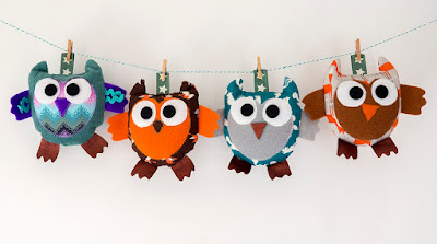 Sewn owl characters by welaughindoors