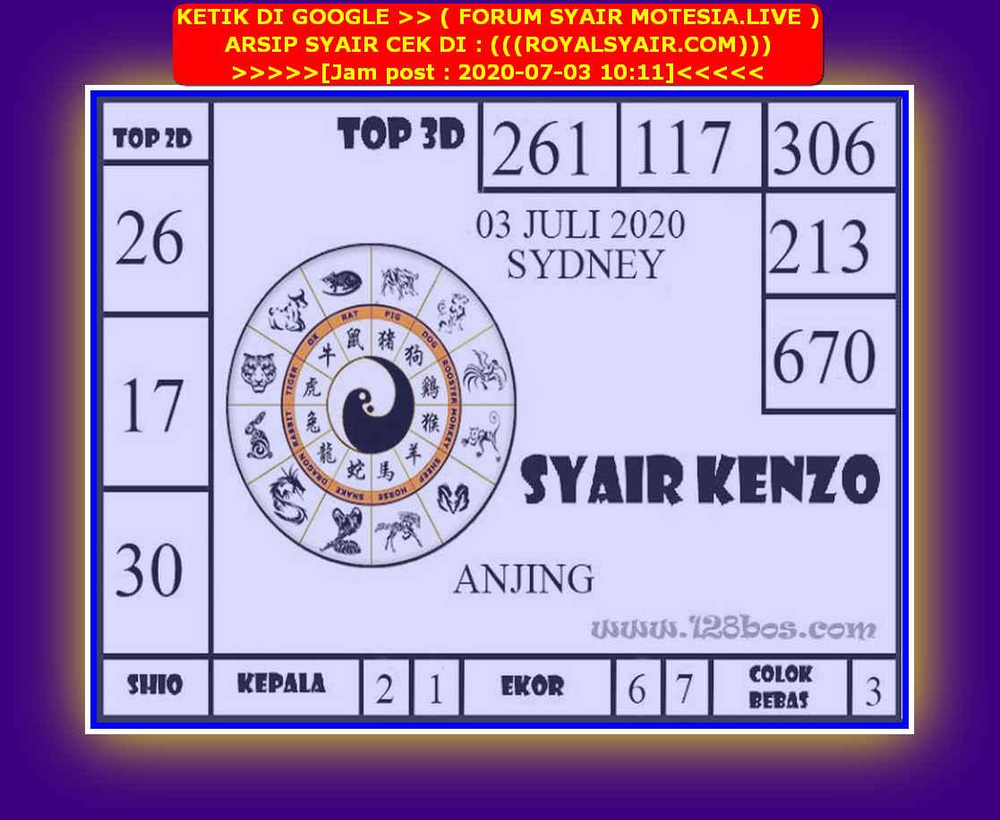 Kode syair Sydney Jumat 3 Juli 2020 116