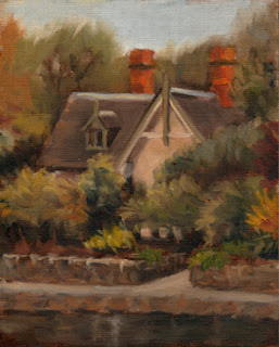 Oil painting of a Victorian Rustic Gothic-style cottage surrounded by trees and shrubs with a pathway and ornamental lake in front.