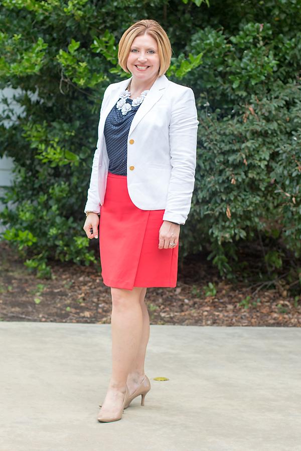 white blazer red skirt