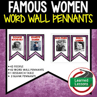 Women's History Month Resources Word Wall Pennants