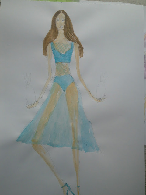Making of a #FashionIllustration: A Girl In a Transparent Blue Dress
