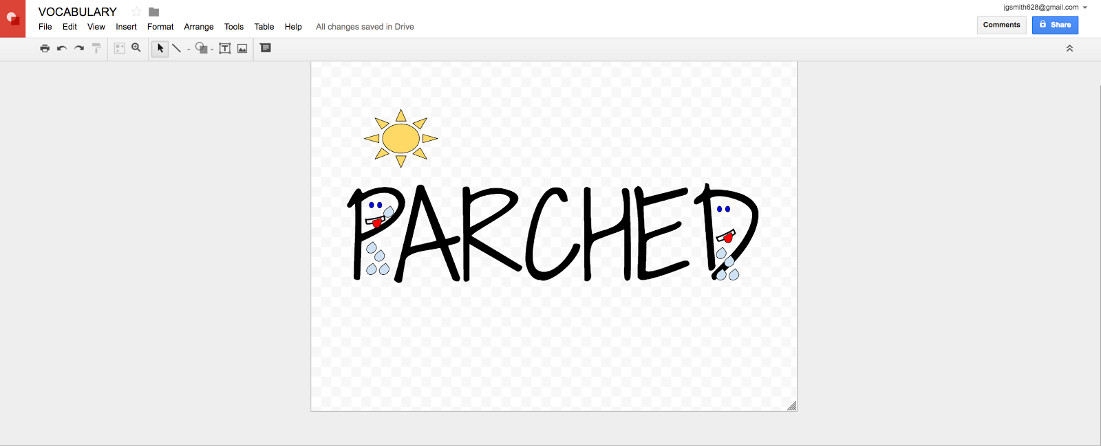 Using Google Drawing to make vocabulary words memorable