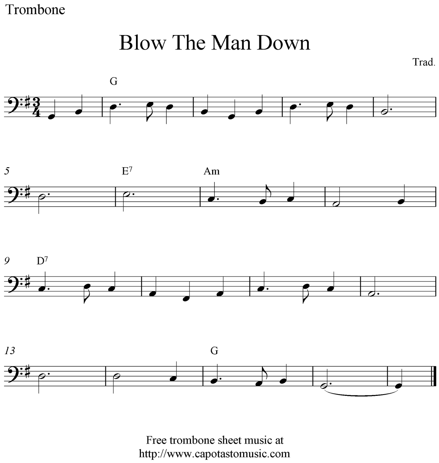 Sheet Music Free Printable Trombone