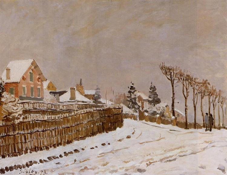 Alfred Sisley, Schnee, Winter, Liebe, beziehung, spaziergang, kälte, hand in hand, paintings, malerei, bild, poetische Art