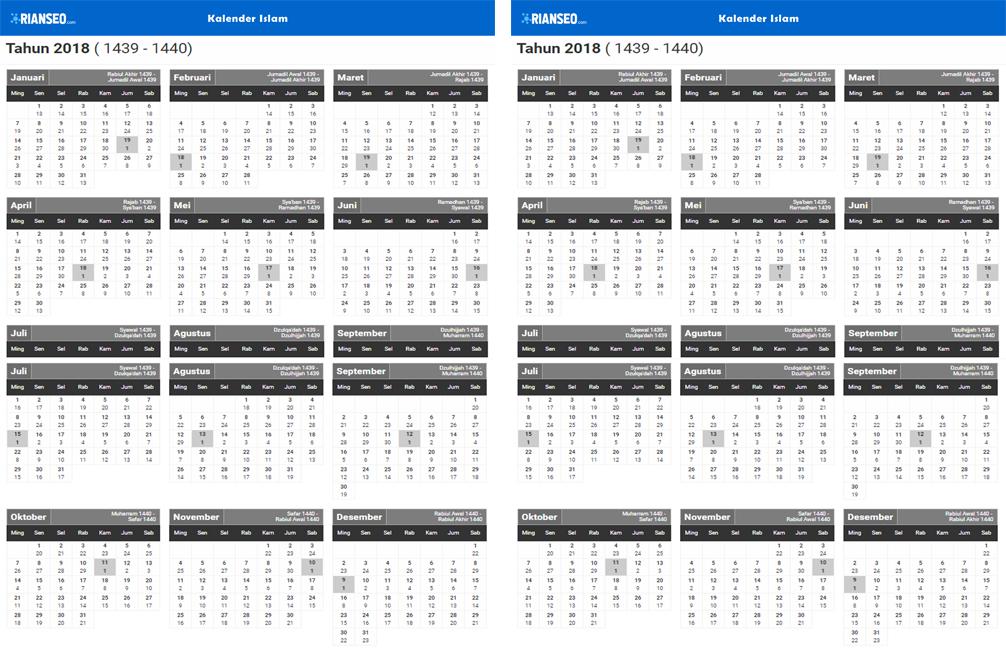 Kelender Tahun Baru Islam 2018 / 2019 / 2020 Lengkap Beserta File PDF