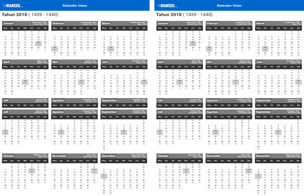 Kalender Islam,Download Kalender,PDF,PNG,PSD,Lengkap,Tahun Baru Islam 2019