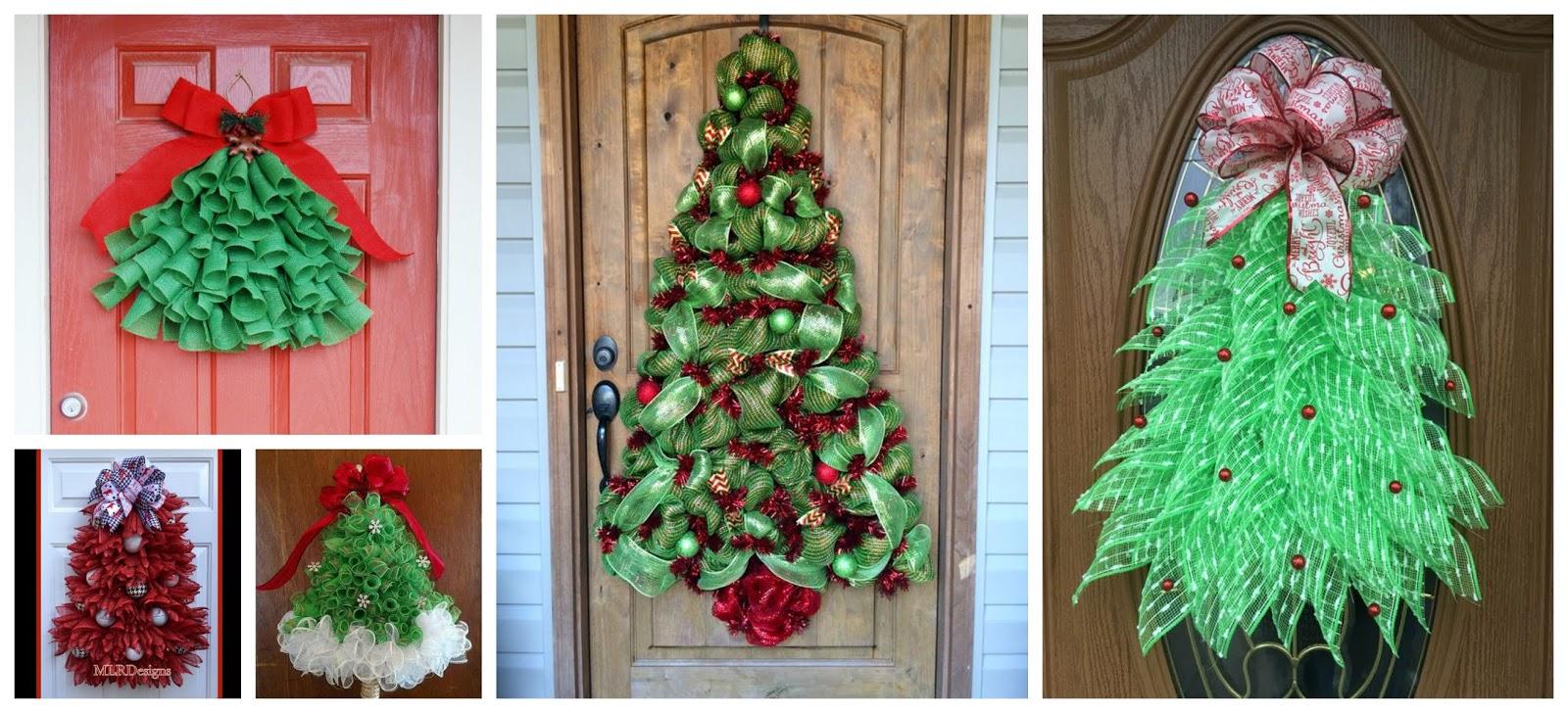 Haz rbolitos navide os con mallas para decorar puertas en for Disenos navidenos para decorar puertas
