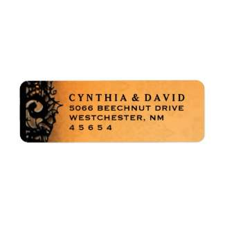 Orange & Black Halloween Lace Custom Wedding Address Label