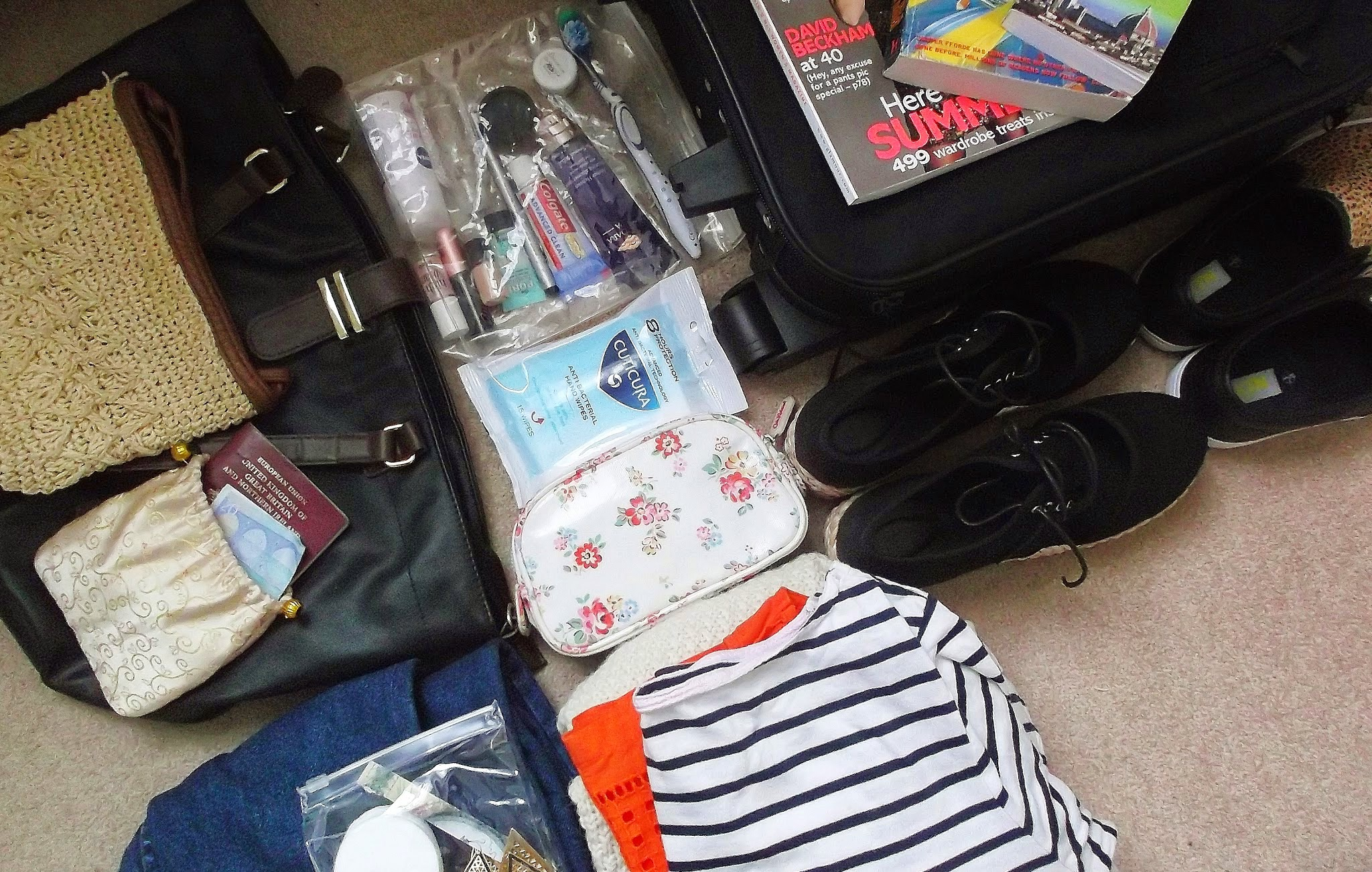 small suitcase laid out on floor surrounded by clothes, shoes and toiletries