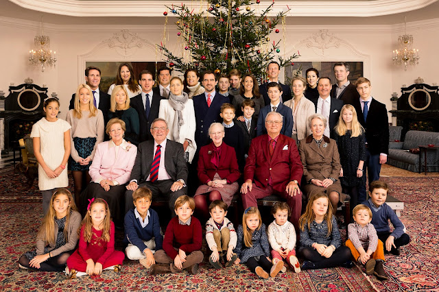 The Danish Royal Family and the Greek Royal Family celebrating Christmas Eve together at Fredensborg Palace
