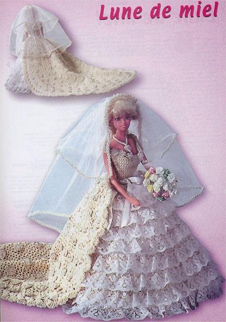 vestido de noiva de crochê para Barbie com gráficos 2