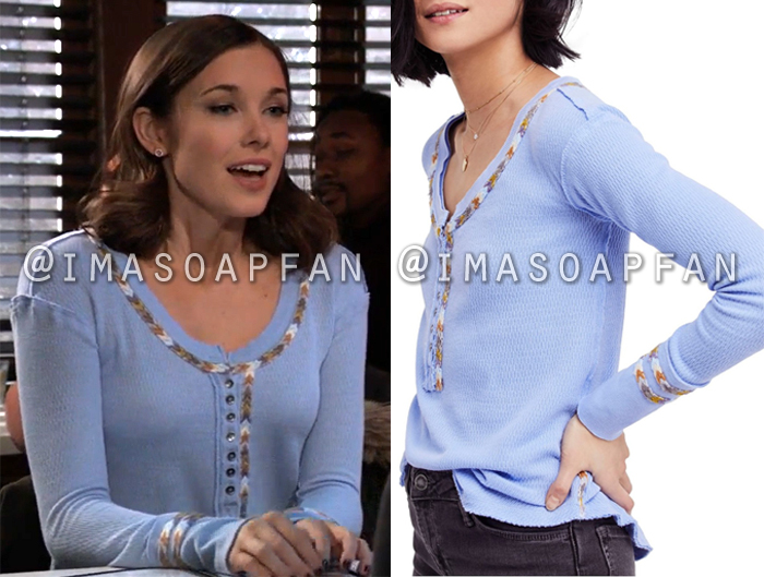 Willow Tait, Katelyn MacMullen, Light Blue Rainbow Chevron Embroidered Henley Tee, General Hospital, GH