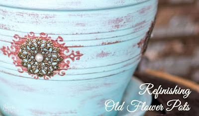 http://thenavagepatch.com/refinishing-old-flower-pots/