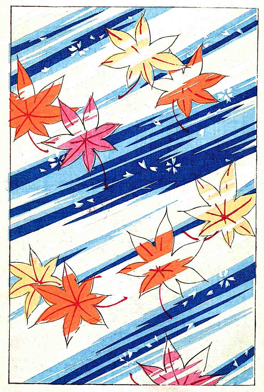 1901 wallpaper Japan, autumn leaves in water