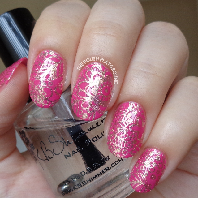 Pink Gold Foil with Rosy Leaf and Floral Stamping Nail Art