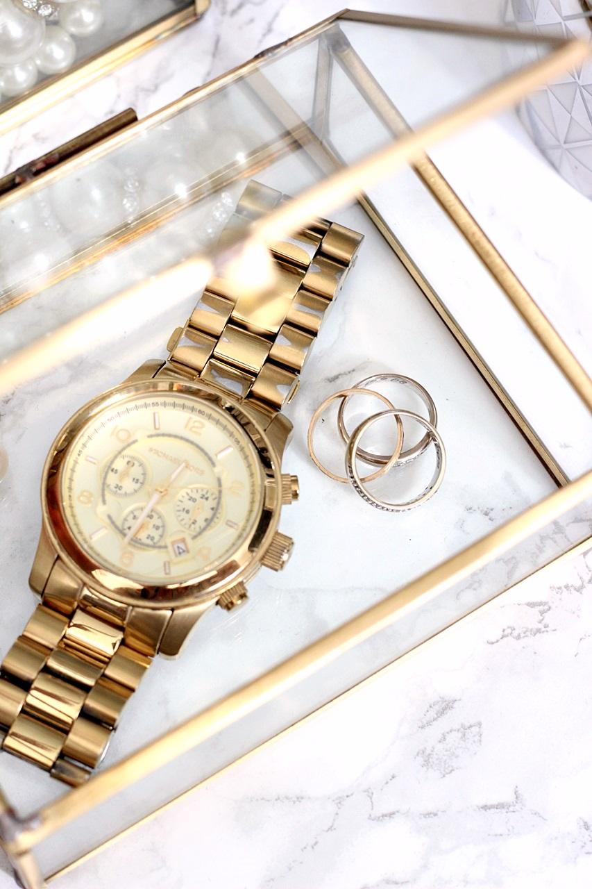 gold michael kors watch beauty jewerly box