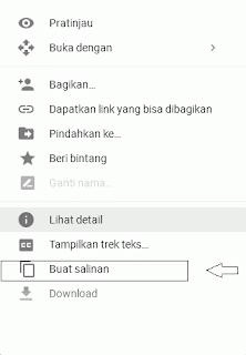 Buat salinan file di google drive