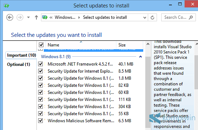 windows update setelah install ulang