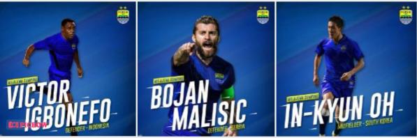 Persib Bandung Perkenalkan Tiga Pemain Baru: Igbonefo, Malisic, In-Kyun