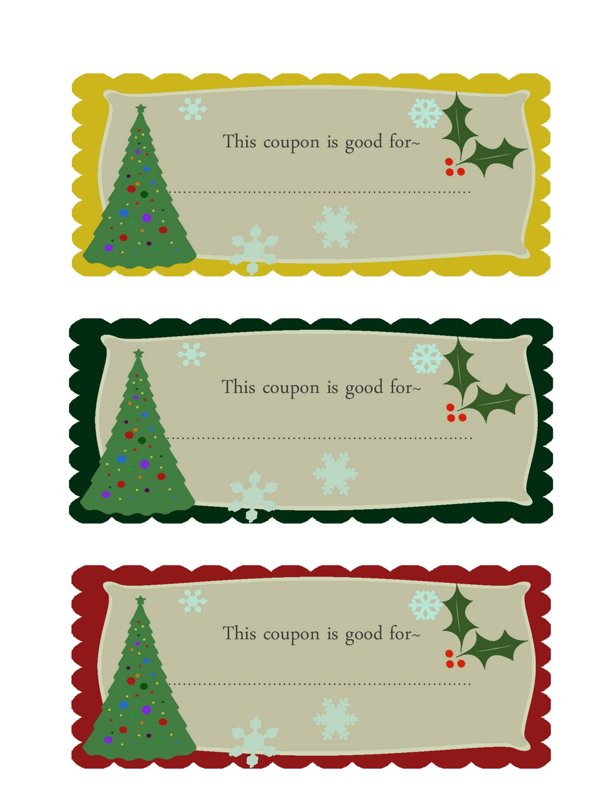 Printable Christmas Iou Gift Certificates