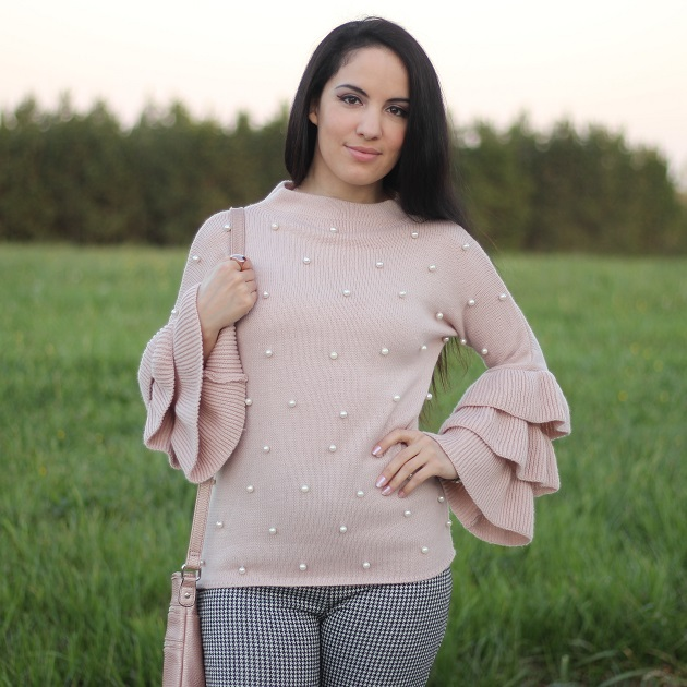 SheIn Pink Sweater with Pearls