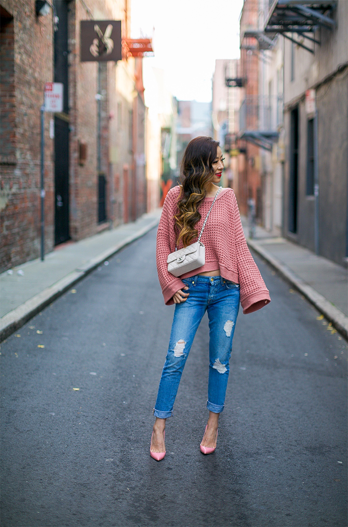 free people maybe baby sweater, lace up sweater, 7 for all mankind jeans, christian louboutin pumps, baublebar earrings, chanel mini flap bag, baublebar earrings, holiday outfit ideas, san francisco fashion blog, san francisco street style