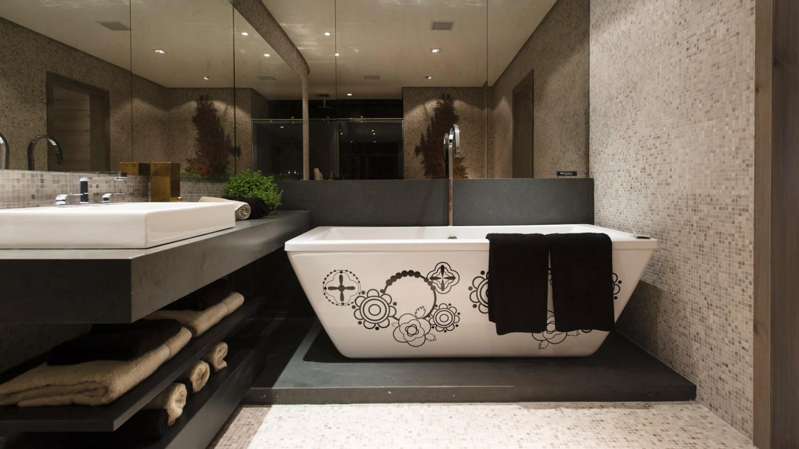 #495924  Clean: 30 Banheiros Decorados com Pastilhas de Vidro! Lindas Ideias 1600x900 px Banheiros Decorados Com Pastilhas Jatoba 1147