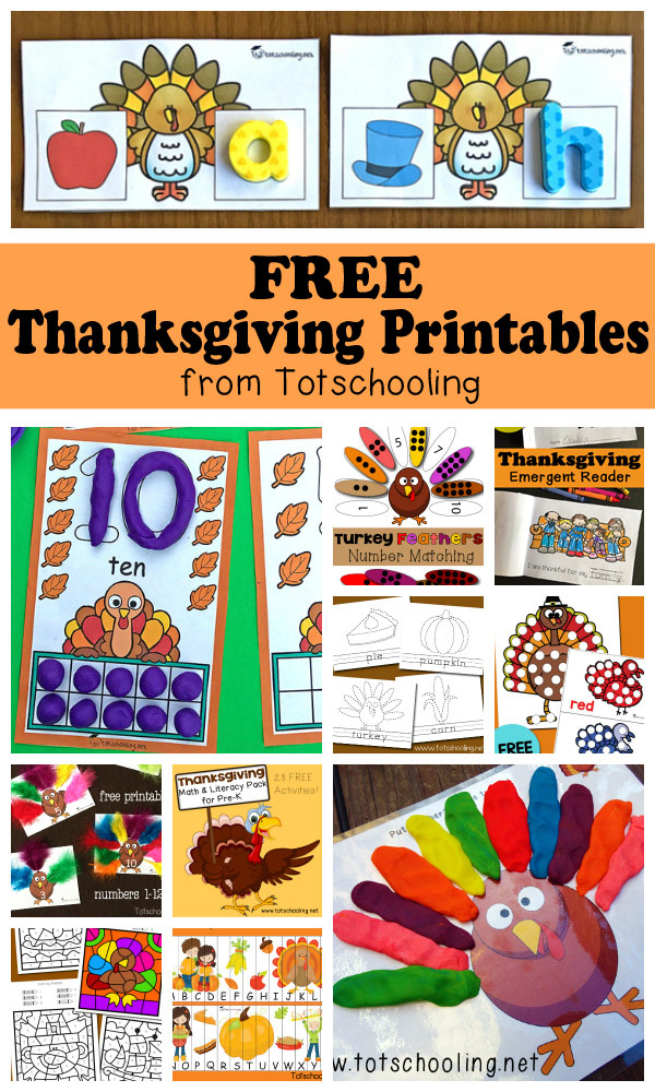 FREE Thanksgiving printables for toddlers, preschool and kindergarten. Large collection of activities featuring math, literacy, playdough mats, tracing, do-a-dot sheets, emergent reader, packs, coloring, matching, puzzles and more!