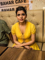 Heroine Samantha Hot Yellow Dress Stills at 7th Bahar Cafe Restaurant Launch in Bangalore