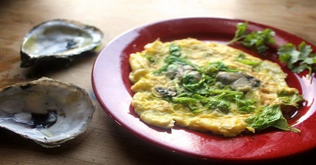 Oyster Omelet With Celery Leaves Recipe