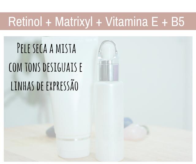 pele seca, tons irregulares, pele mista, linhas de expresão, hidratação, antioxidante, vitamina B5, retinol, pele flácida