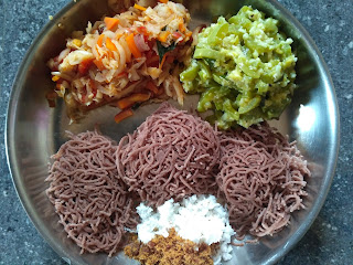 Maappillai Sambaa Stringhopper,  Snake gourd kootu,  Carrot Cabbage Curry