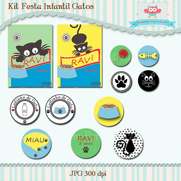 arte digital, kit digital, gatos, personalizados, topper, saco metalizado, garrafinha