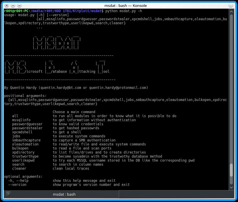 MSDAT - Microsoft SQL Database Attacking Tool