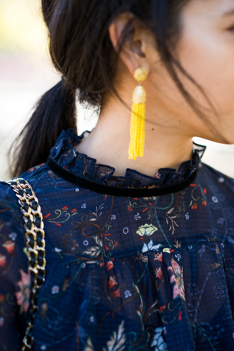 Melissa de mata photography, Vero Moda floral maxi dress, Asos floral maxi dress, winter in San francisco, what to wear in winter in san francisco, Ballys quilted bag, BaubleBar tassel piñata earrings, gold boots, gold booties, chic gold boots for spring