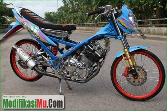 Hasil Modipikasi - Cara Modifikasi Suzuki Satria F150 Ala Street Racing Velg Jari Jari
